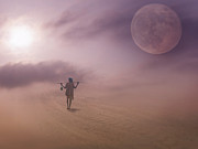 Man In The Moon Photo Prints - The Long Walk Print by Nichon Thorstrom