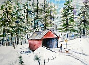 New England Snow Scene Painting Posters - The Long Way Home Poster by Brian Degnon