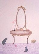 Homes Pastels Posters - The Looking Glass Poster by Christine Corretti