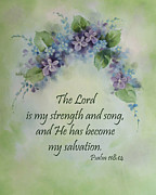 Becky Prints - The Lord is my strength and song Print by Becky West