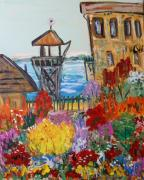Visionary Artist Painting Prints - The Lost Gardens of Alcatraz Print by Mary Carol Williams