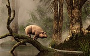 Flooded Framed Prints - The Lost Pig Framed Print by Daniel Eskridge