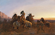 Western Western Art Prints - The Lost Trail Print by Karl Ferdinand Wimar