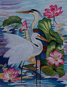 Heron Tapestries - Textiles Framed Prints - The Lotus Pond hand embroidery Framed Print by To-Tam Gerwe