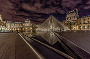 Museum Prints - The Louvre at Night Print by Ian Stotesbury