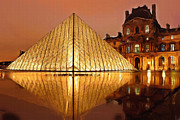 Water Color Digital Art Posters - The Louvre by Night Poster by Ayse T Werner