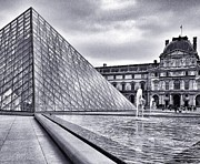 Black And White Paris Mixed Media Posters - The Louvre Pyramid Poster by CD Kirven