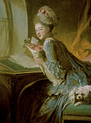 Honore Posters - The Love Letter Poster by Jean Honore Fragonard