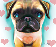 Catia Cho Metal Prints - The love Pug Metal Print by Catia Cho