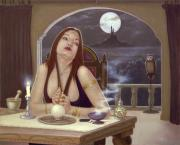 Vampire Paintings - The love spell by John Silver
