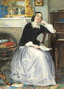 Piano Prints - The Love Token Print by Frederick Walker