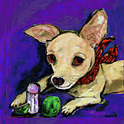 Chihuahua Paintings - The Lovely Ms. Tecate Guarding Her Salt And Lime by Dale Moses