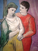 Pablo Picasso Painting Prints - The Lovers Print by Pablo Picasso