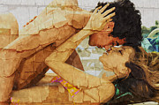 Boy Digital Art Originals - The Lovers The Beach by Amyn Nasser