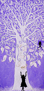 Family Love Paintings - The Loving Tree Purple by Cherish Fletcher
