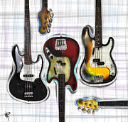 Bass Guitar Prints - The Low End Print by Russell Pierce