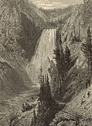 Grand Canyon Drawings - The Lower Falls of the Yellowstone River by Antique Engravings