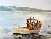 Maine Shore Painting Originals - The Lyllis Esther by Lee Piper