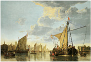 Sailing Ships Posters - The Maas at Dordrecht Poster by Aelbert Cuyp
