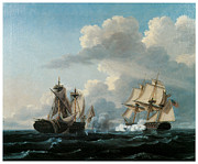 Sailing Ships Prints - The Macedonian and the Unites States Print by Thomas Birch
