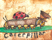 Mad Hatter Framed Prints - The Mad Caterpillar Framed Print by Sheri Athwal