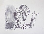 Mad Hatter Drawings Prints - The Mad Hatter 1865 of Alice in Wonderland  Print by J D  Fields