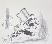 Mad Hatter Drawings Prints - The Mad Hatter Gets Away 1865 Print by J D  Fields