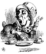 Adventures Drawings Posters - The Mad Hatter Poster by John Tenniel