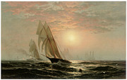 Yacht Paintings - The Madeleines Victory over the Countess of Dufferin Americas Cup by Edward Moran