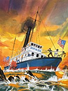 Danger Painting Prints - The Madmen of the Mississippi Print by English School