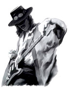 Images Drawings Framed Prints - The Maestro   Stevie Ray Vaughan Framed Print by Iconic Images Art Gallery David Pucciarelli