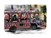 Haiti Digital Art Framed Prints - The Magic Bus Framed Print by Bob Salo
