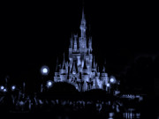 Magic Kingdom Photographs Posters - The Magic Kingdom Castle At Midnight In Blue Poster by Thomas Woolworth