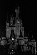 Walt Disney Boardwalk Prints - The Magic Kingdom Castle in Black and White Walt Disney World FL Print by Thomas Woolworth