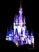 The Magic Kingdom Castle In Blue And Purple Walt Disney World Fl Print by Thomas Woolworth