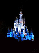 Magic Kingdom Photographs Prints - The Magic Kingdom Castle in Blue Walt Disney World FL Print by Thomas Woolworth