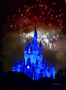 Orlando Magic Photos - The Magic Kingdom Castle in Deep Blue at Walt Disney World by Thomas Woolworth