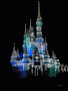 Magic Kingdom Photographs Prints - The Magic Kingdom Castle in Frosty Dark Blue Walt Disney World Print by Thomas Woolworth