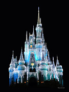Thomas Woolworth Photography Posters - The Magic Kingdom Castle in Frosty Light Blue Walt Disney World Poster by Thomas Woolworth