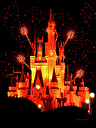 Magic Kingdom Photographs Prints - The Magic Kingdom Castle in Orange Walt Disney World FL Print by Thomas Woolworth