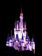 Magic Kingdom Photographs Prints - The Magic Kingdom Castle in Purple Walt Disney World FL Print by Thomas Woolworth