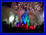 Magic Kingdom Photographs Prints - The Magic Kingdom Castle in Rainbow with fireworks Walt Disney World FL Print by Thomas Woolworth