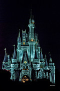 Disney Photographs Posters - The Magic Kingdom Castle in Teal Walt Disney World FL Poster by Thomas Woolworth