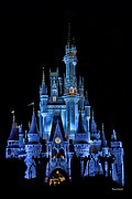 Disney Photographs Posters - The Magic Kingdom Castle in Very Deep Blue Walt Disney World FL Poster by Thomas Woolworth