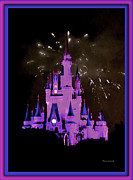 Cinderella Photographs Framed Prints - The Magic Kingdom Castle in Violet Walt Disney World FL Framed Print by Thomas Woolworth
