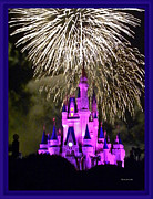 Walt Disney Boardwalk Framed Prints - The Magic Kingdom Castle in Violet with fireworks Walt Disney World FL Framed Print by Thomas Woolworth