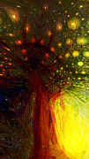 Psychedelic Space Art Prints - The Magic Tree Print by Linda Sannuti
