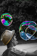Editorial Digital Art Framed Prints - The magic world of Bubbles Framed Print by Sotiris Filippou