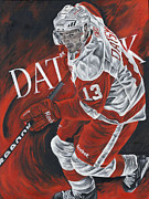 Autographed Paintings - The Magician - Pavel Datsyuk by David Courson