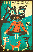 Psychedelic Prints - THE MAGICIAN - tarot card cat Print by Jazzberry Blue